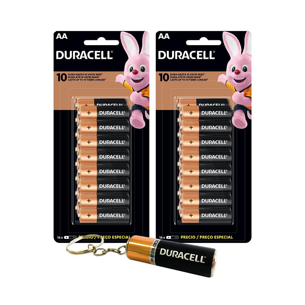 Kit Duracell Duralock 16 Pilhas Alcalina AA + 16 Pilhas Alcalina AAA + Chaveiro