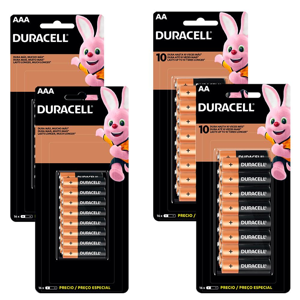 Kit Duracell Duralock Pilha Alcalina 32 AA + 32 AAA