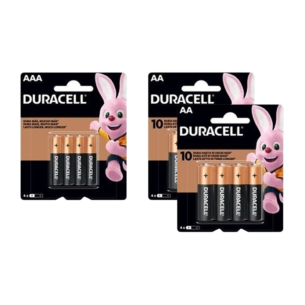 Kit Duracell Duralock Pilha Alcalina 8 AA + 24 AAA
