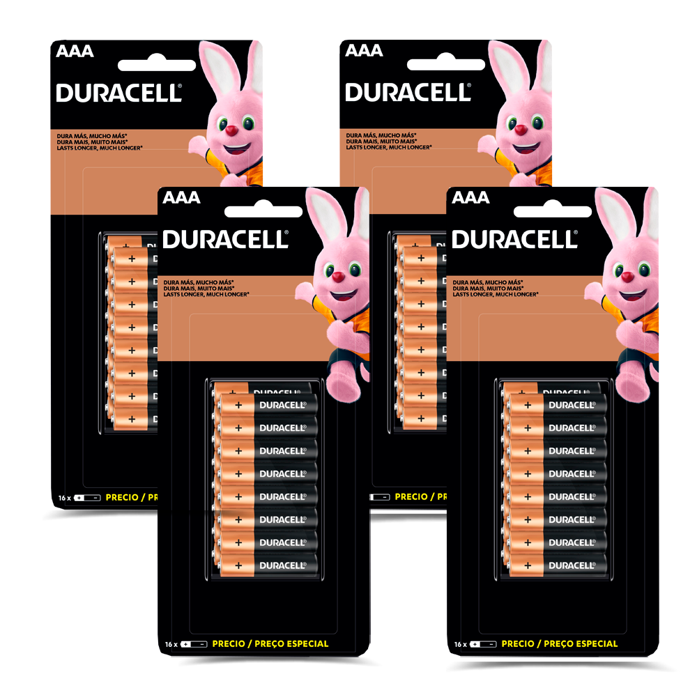 Kit 64 Pilhas Duracell Duralock Alcalina AAA