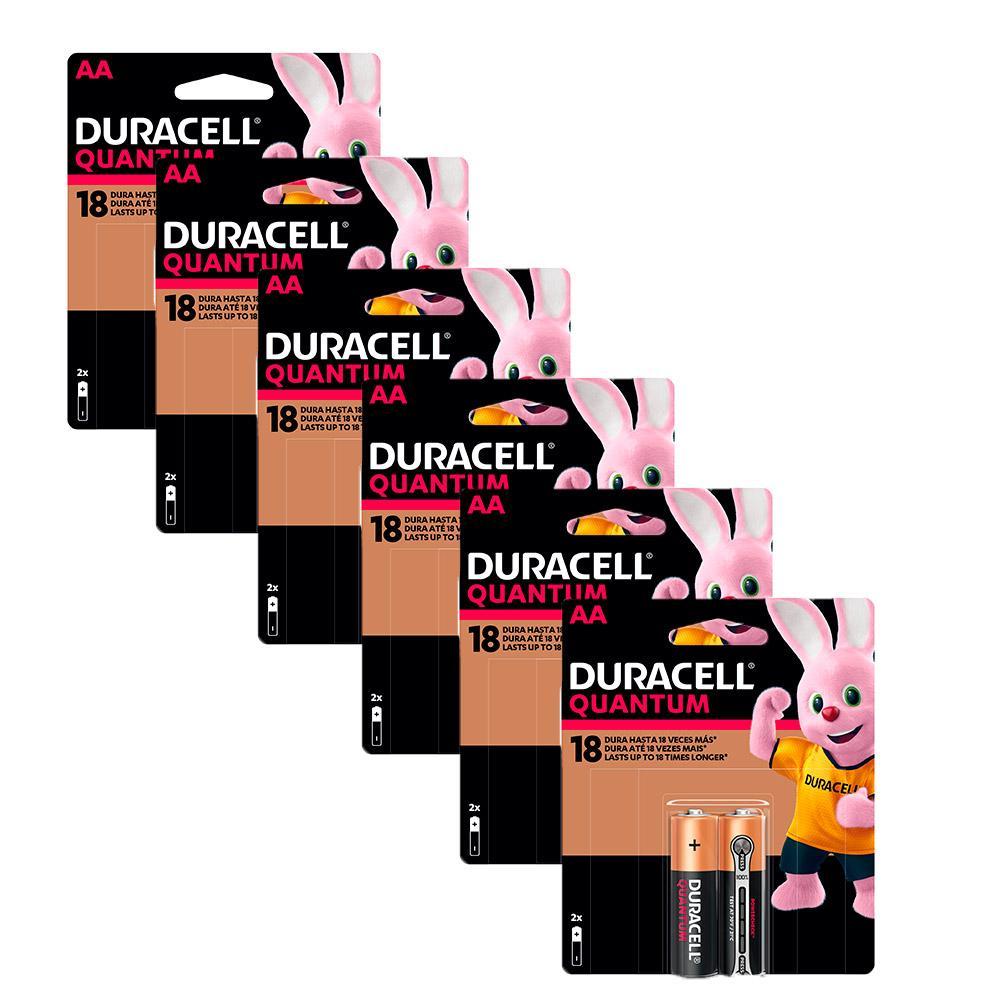 Kit Duracell Duralock Pilha Quantum AA 12 unidades