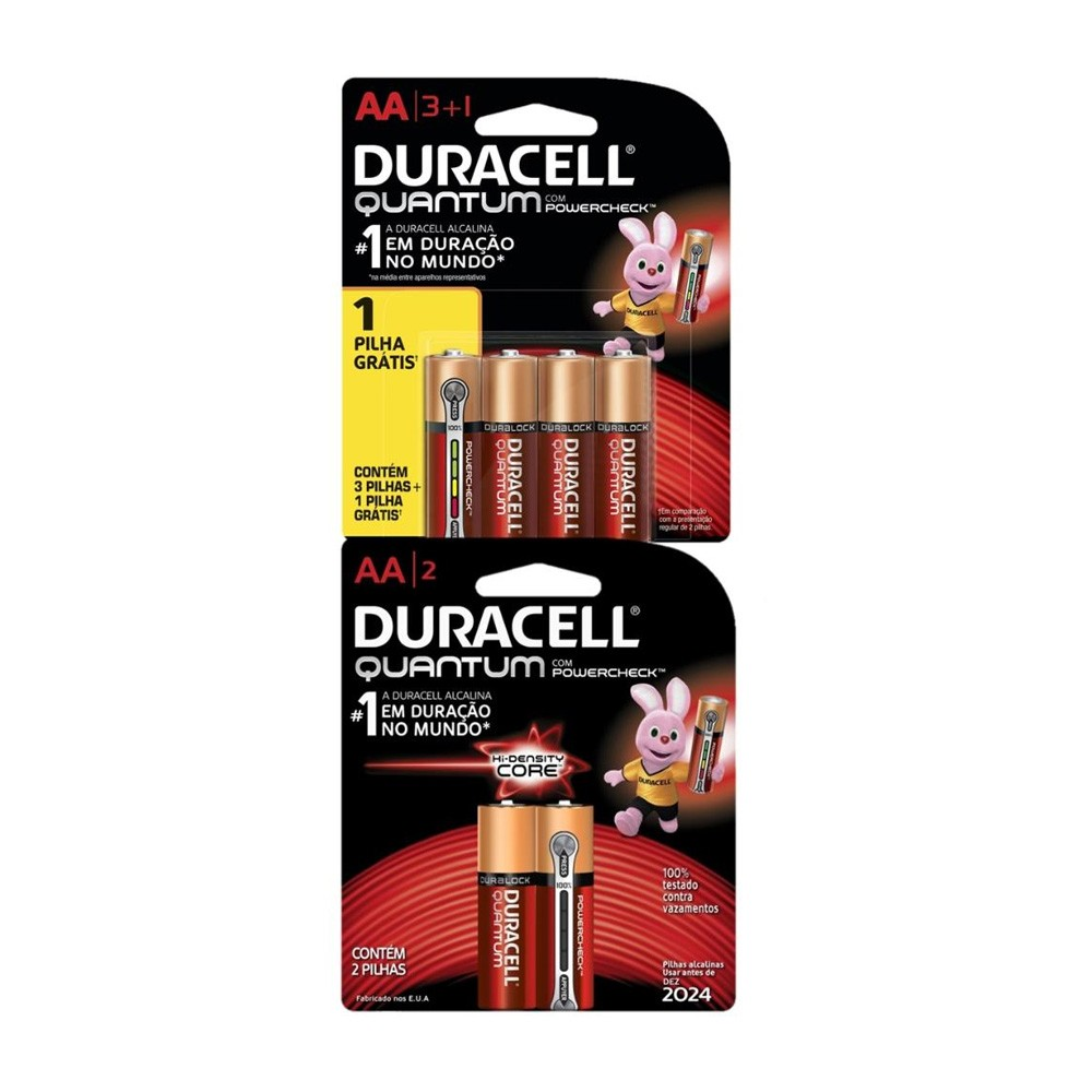 Kit Duracell Pilha Super Alcalina AA Quantum Leve 4 Pague 3 +Duracel duralock Pilha Quantum AA 2Unds
