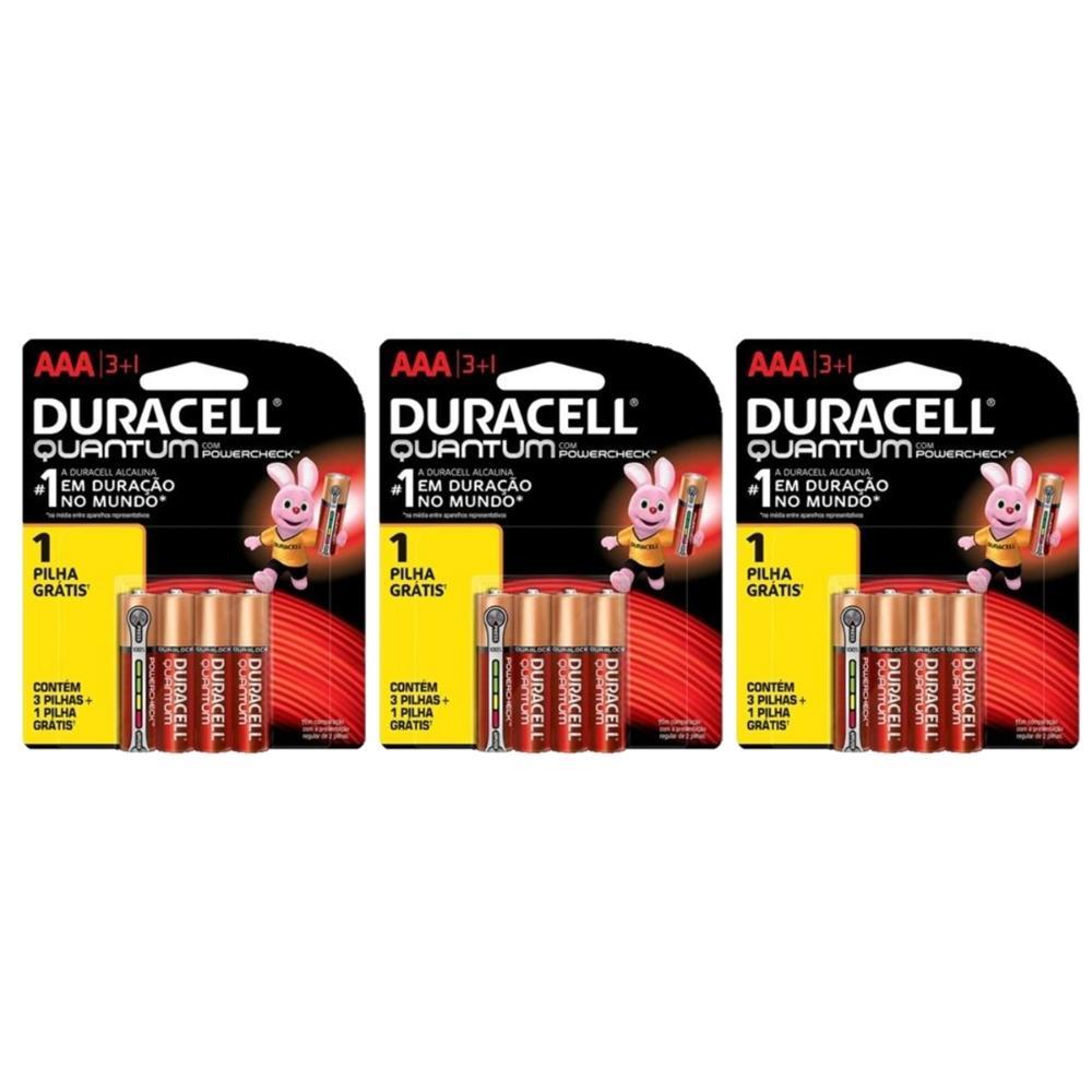 Kit Duracell Pilha Super Alcalina AAA Quantum L4  P3 c/ 12 unidades