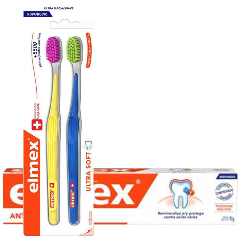 Kit Elmex Escova Dental Ultra Soft 2 Un + Creme Dental 90g