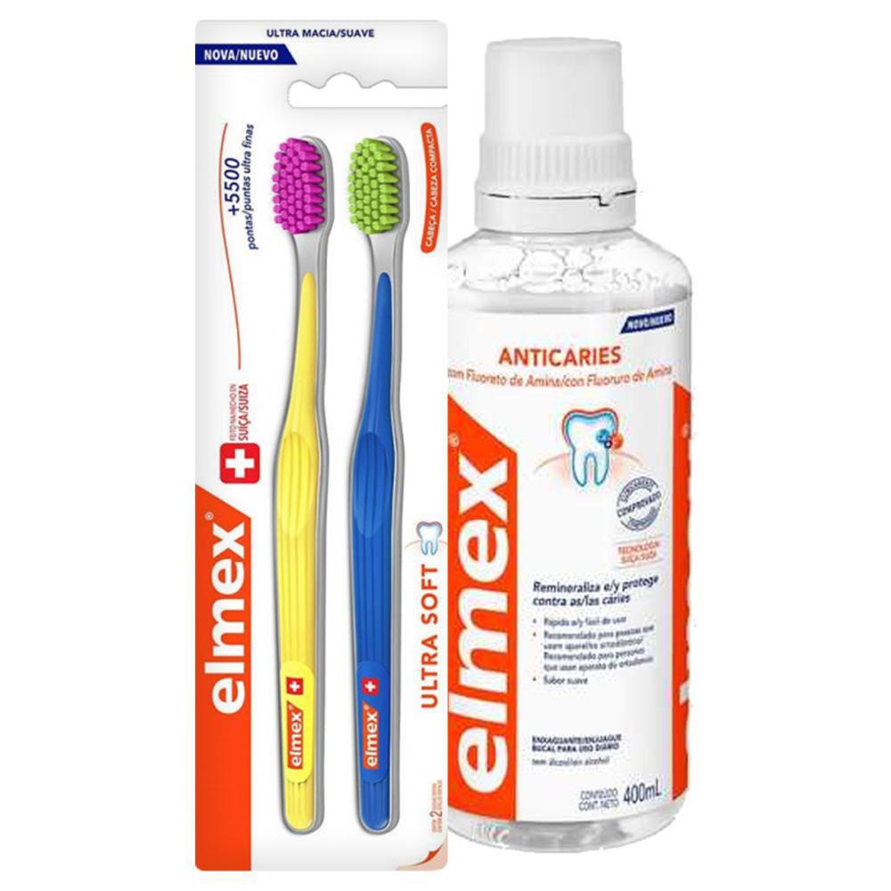 Kit Elmex Escova Dental Ultra Soft 2 Un + Enxaguante Bucal 400ml