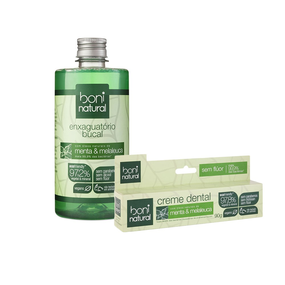 Kit Enxag Bucal s Flúor Boni Natural Menta e Melaleuca 500ml + Creme Dental 90g