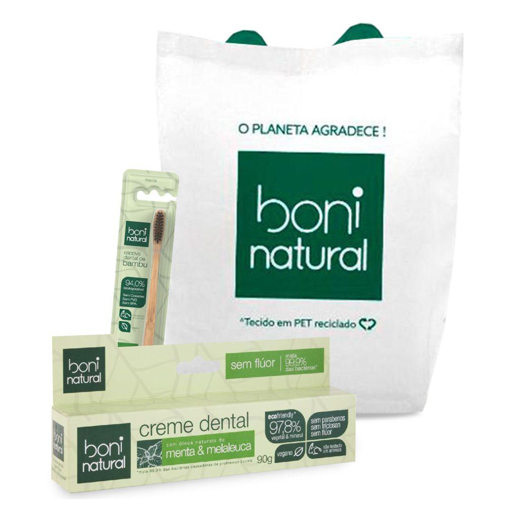 Kit Escova Dental de Bambú Boni + Creme Dental Natural Menta e Melaleuca 90g + Ecobag