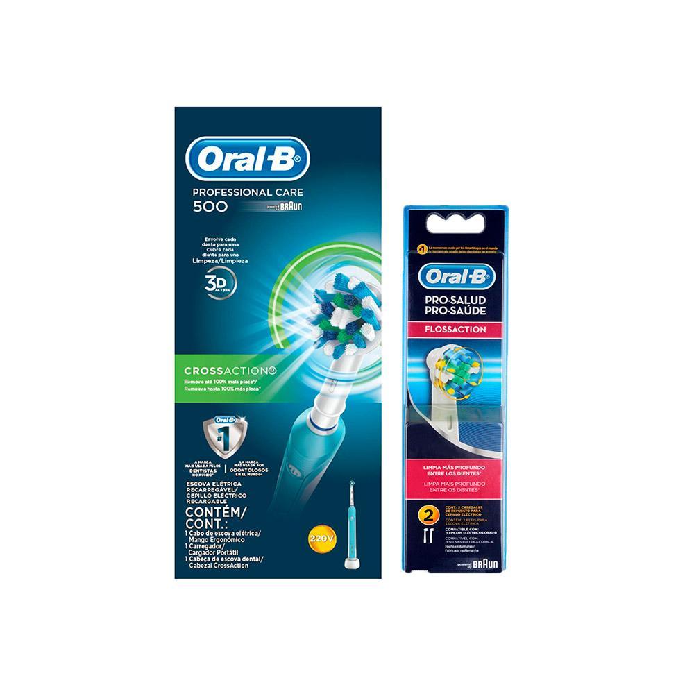 Kit Escova Elétrica Oral-B PC 500 D16 220V + 2 Refís Flossaction