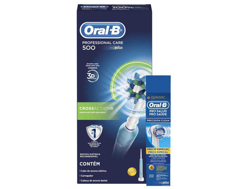 Kit Escova Elétrica Oral-B Professional Care 500 D16 110v + Refil Precision Clean c/ 4 un