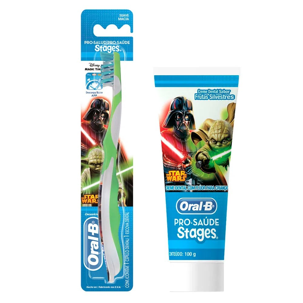 Kit Escova Infantil + Creme Dental Oral B Stages Star Wars 75 mL