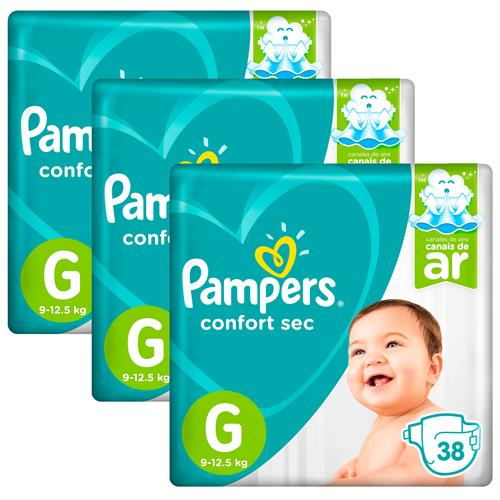 Kit Fralda Pampers Confort Sec com 114 Tiras Tamanho G