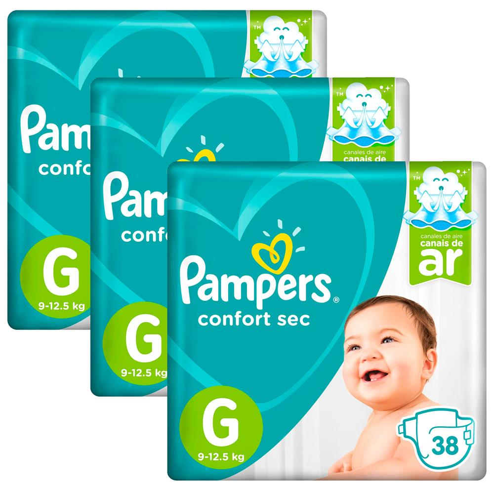 Kit Fralda Pampers Confort Sec G com 114 Tiras