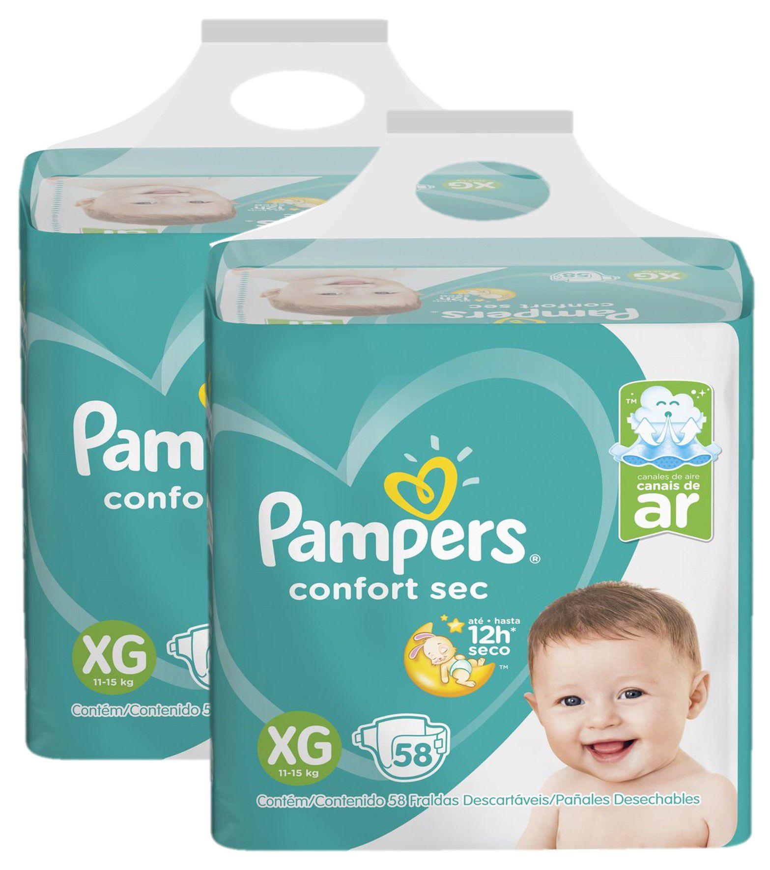 Kit 2 Fralda Pampers Confort Sec Super Tamanho XG 58 Unidades