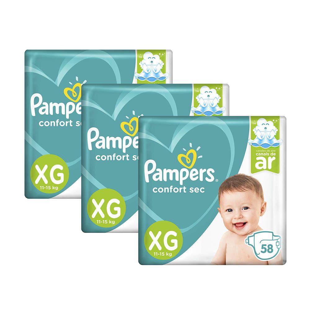 Kit Fralda Pampers Confort Sec Nova Super Tamanho XG 174 Unidades