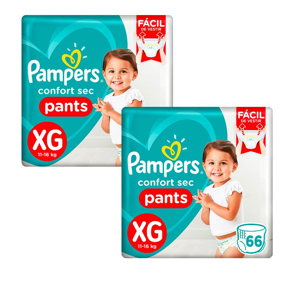 Kit Fralda Pampers Confort Sec Pants Jumbo Tamanho XG 132 Unidades