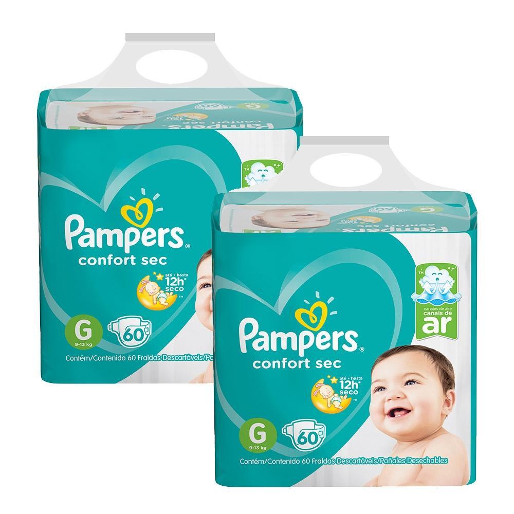 Kit Fralda Pampers Confort Sec Super Tamanho G 120 Tiras