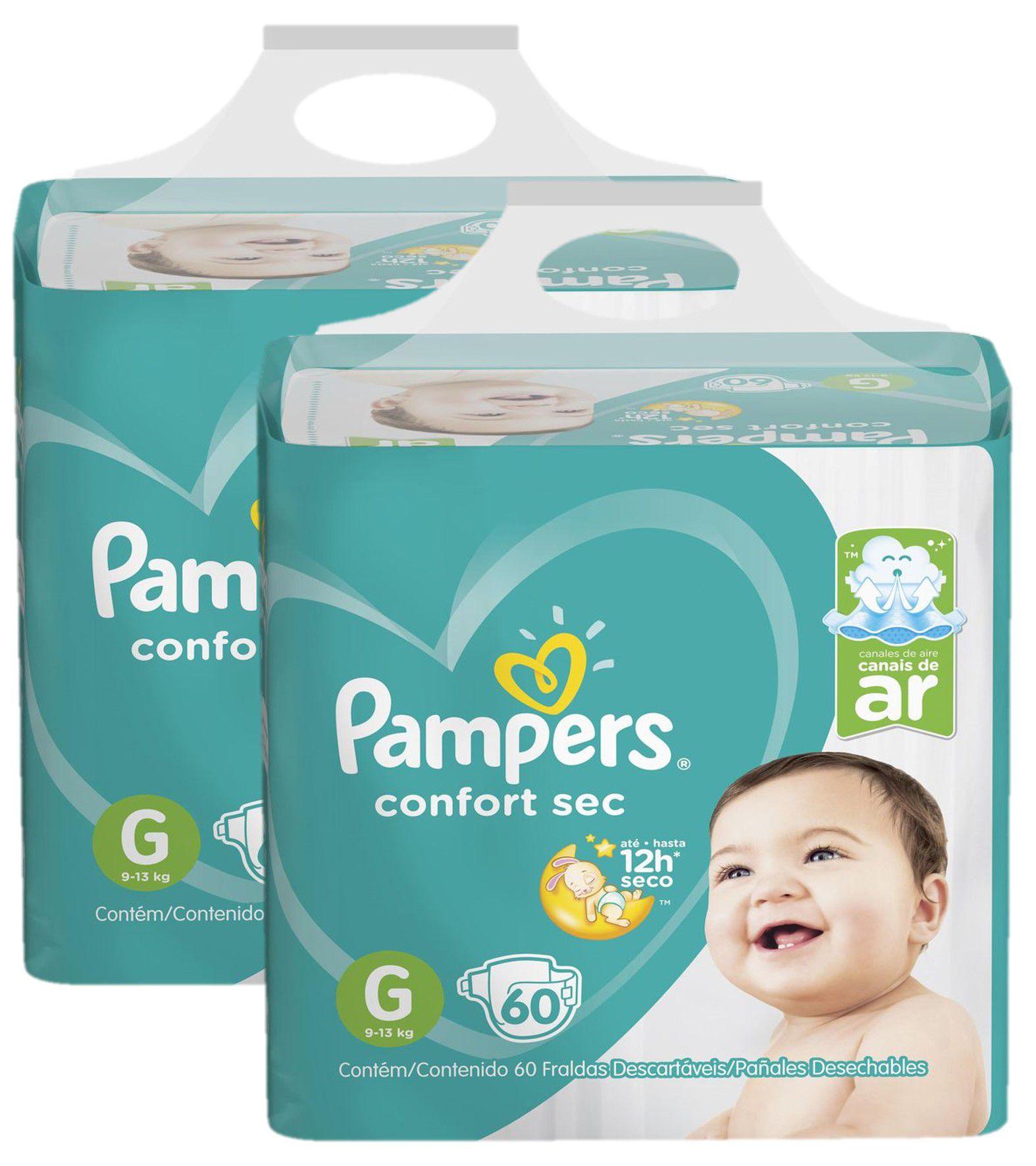 Kit Fralda Pampers Confort Sec Super Tamanho G 120 unidades
