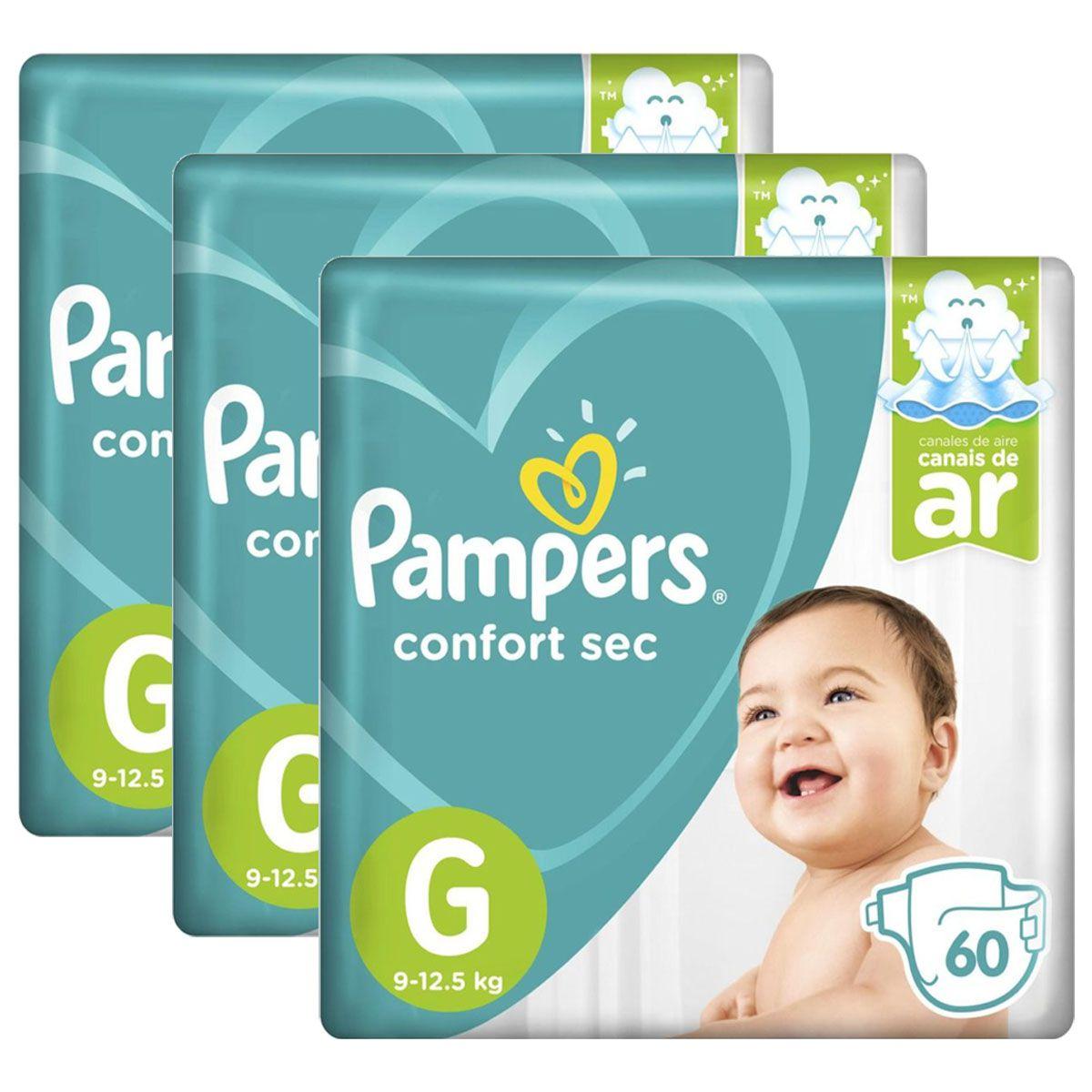 Kit Fralda Pampers Confort Sec Super Tamanho G 180 unidades
