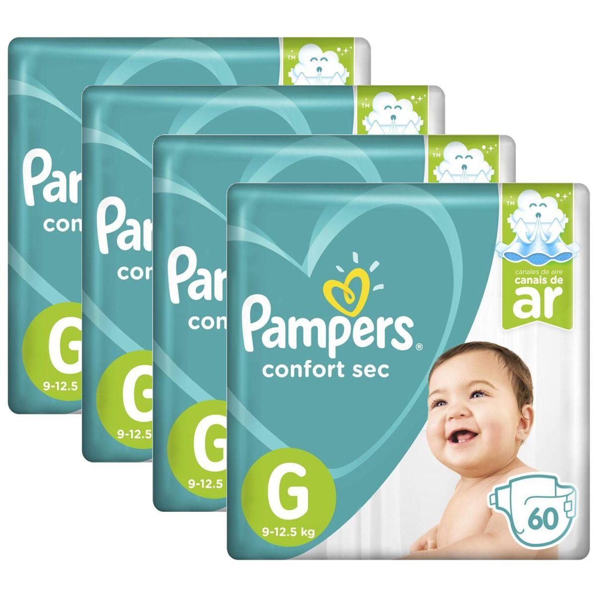 Kit Fralda Pampers Confort Sec Super Tamanho G 240 unidades