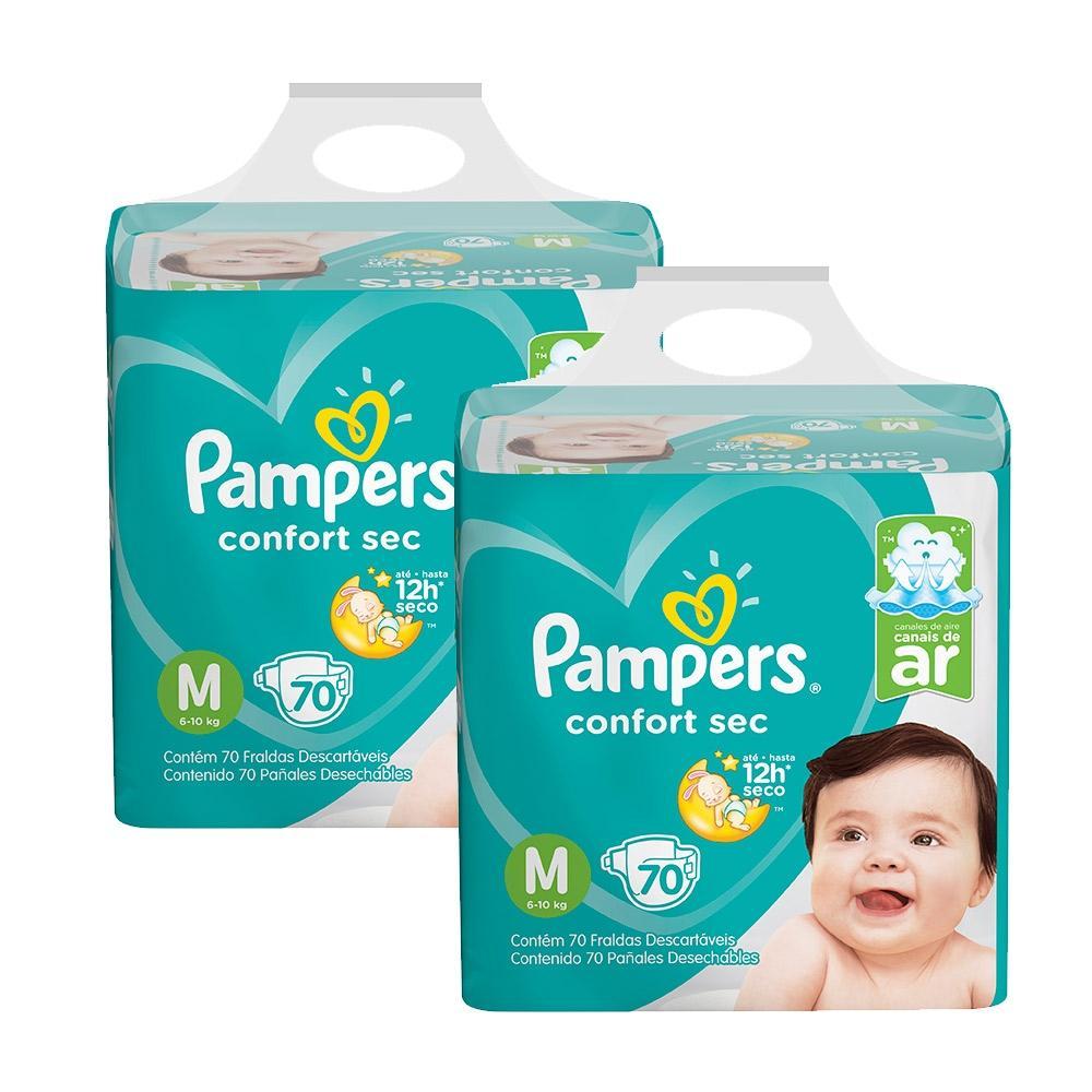 Kit Fralda Pampers Confort Sec Super Tamanho M 140 Tiras