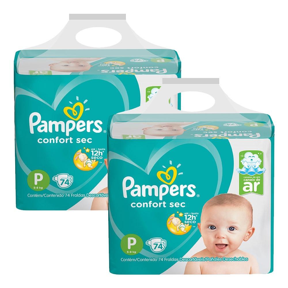 Kit Fralda Pampers Confort Sec Super Tamanho P 148 Tiras