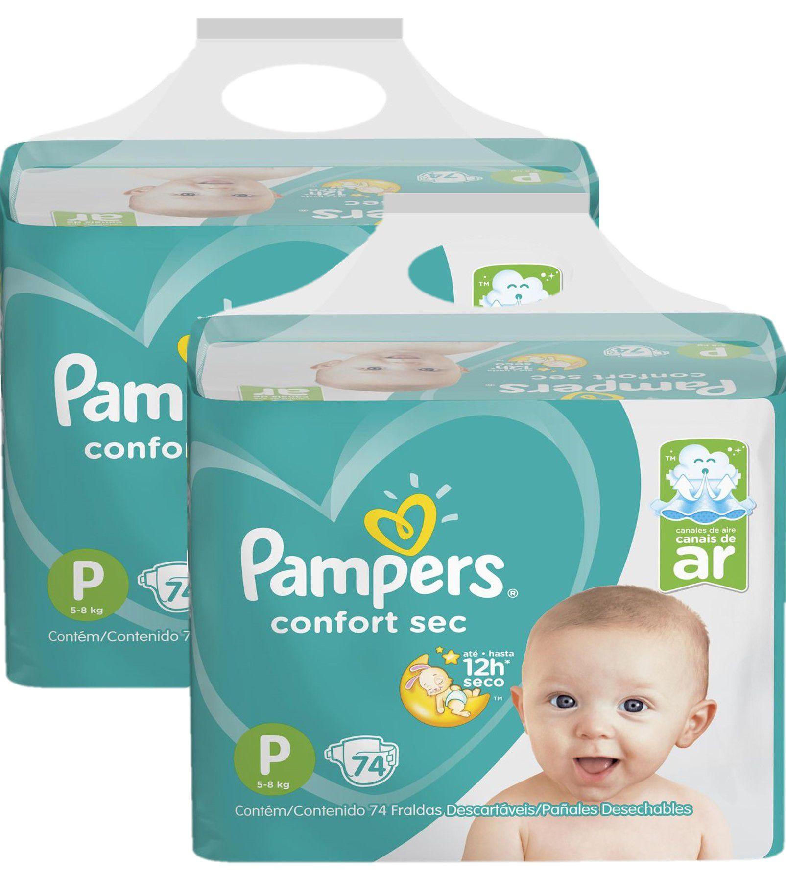 Kit Fralda Pampers Confort Sec Super Tamanho P 148 unidades