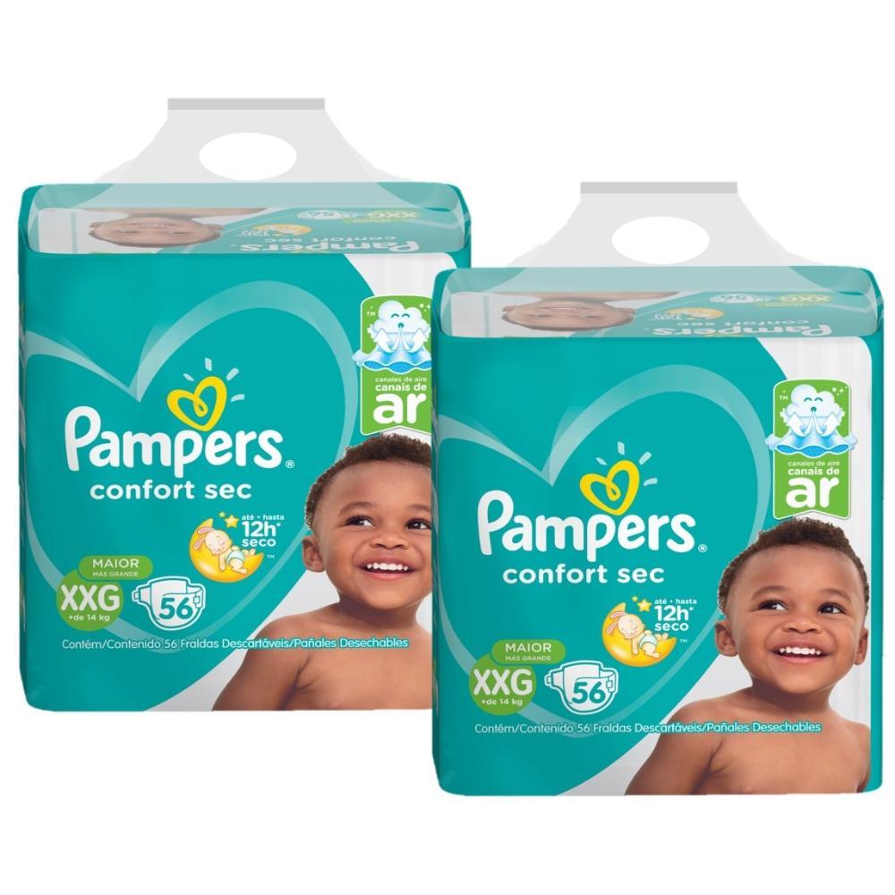 Kit 2 Fralda Pampers Confort Sec Super Tamanho XXG 56 Tiras