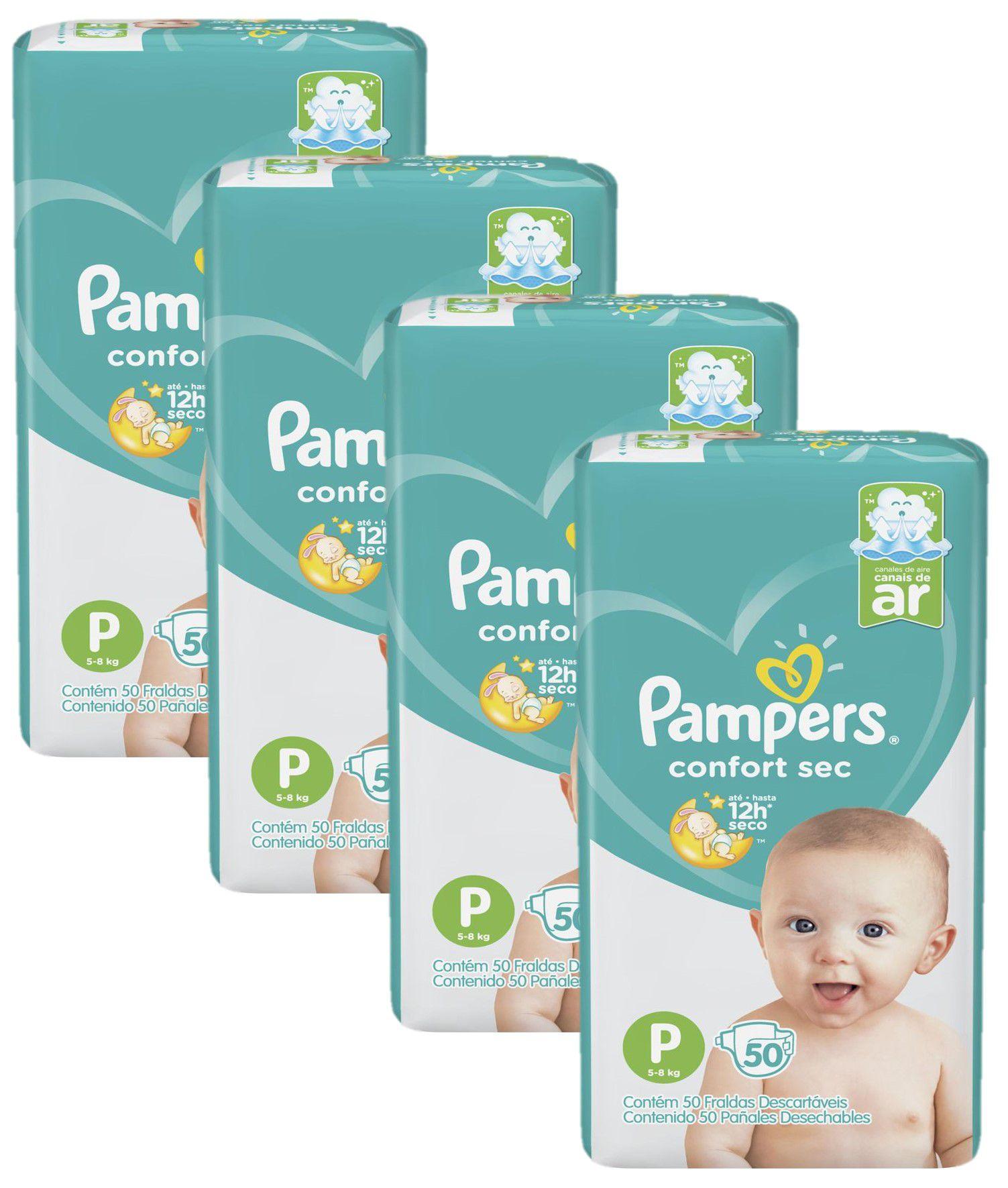 Kit Fralda Pampers Confort Sec Tamanho P com 200 unidades