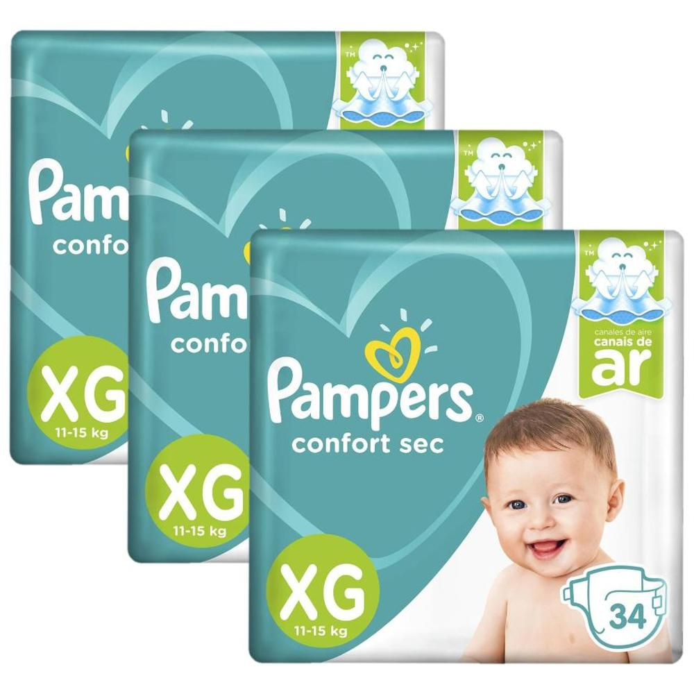 Kit Fralda Pampers Confort Sec XG com 102 Tiras