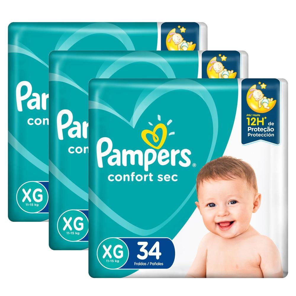 Kit Fralda Pampers Confort Sec XG com 102 Tiras