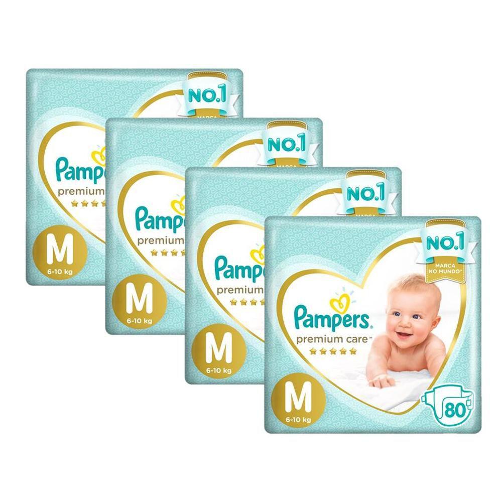 Kit Fralda Pampers Premium Care Jumbo Tamanho M 320 Unidades