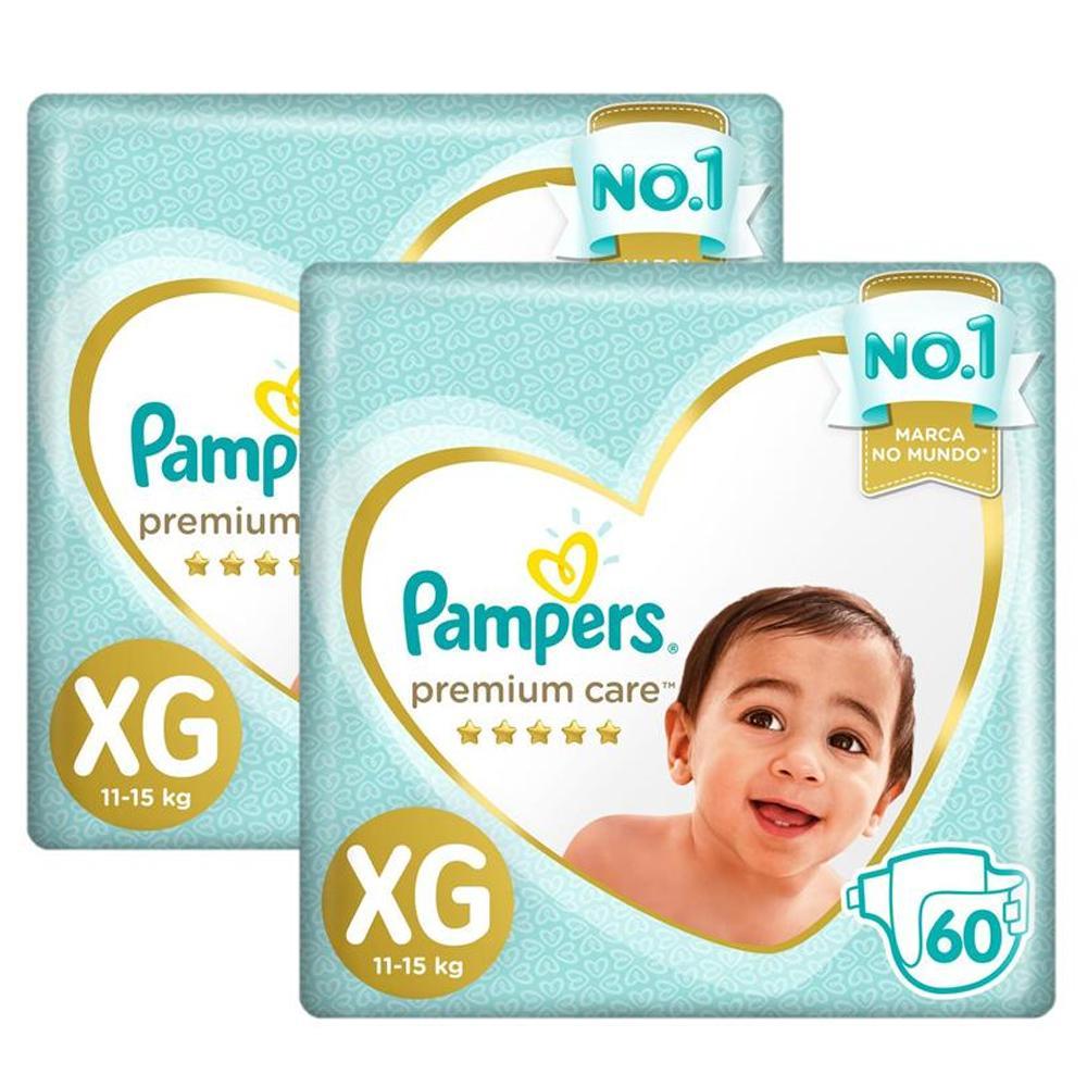 Kit 2 Fralda Pampers Premium Care Nova Jumbo Tamanho XG 60 Unidades