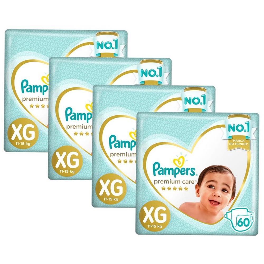 Kit Fralda Pampers Premium Care Jumbo Tamanho XG 240 Unidades