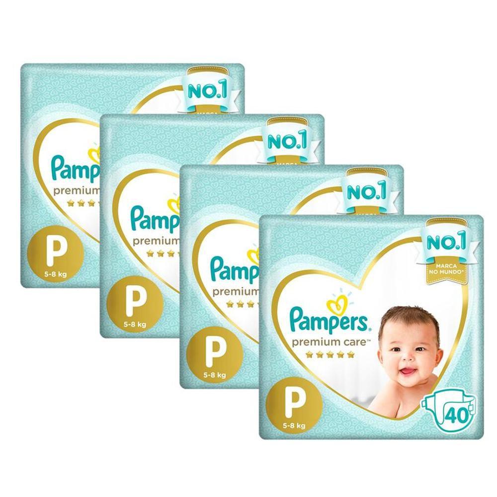 Kit Fralda Pampers Premium Care Nova Mega Tamanho P 160 Unidades