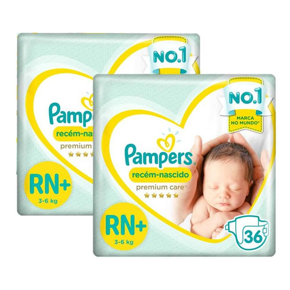 Kit Fralda Pampers Premium Care Recém Nascido Plus com 72 unidades - 3 à 6 Kg