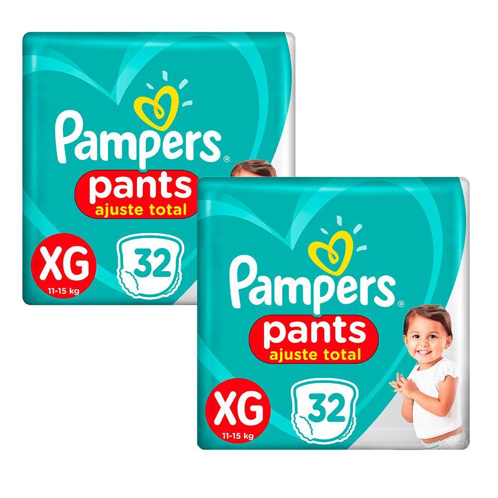 Kit Fraldas Pampers Pants Ajuste Total Mega XG 64 tiras