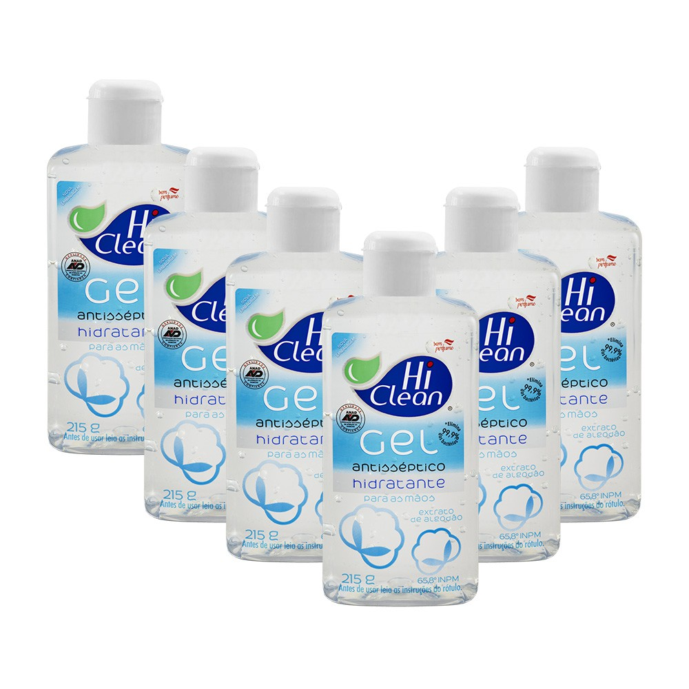 Kit Gel Antisséptico Hi Clean Extrato de Algodão 250ml - 6 Un