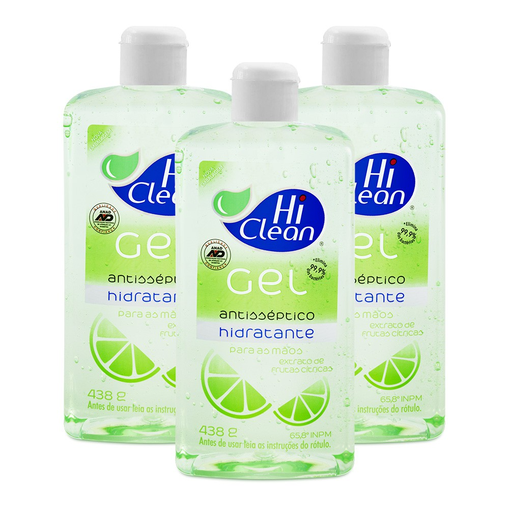 Kit Gel Antisséptico Hi Clean Extrato de Frutas Citricas 500ml - 3 Un