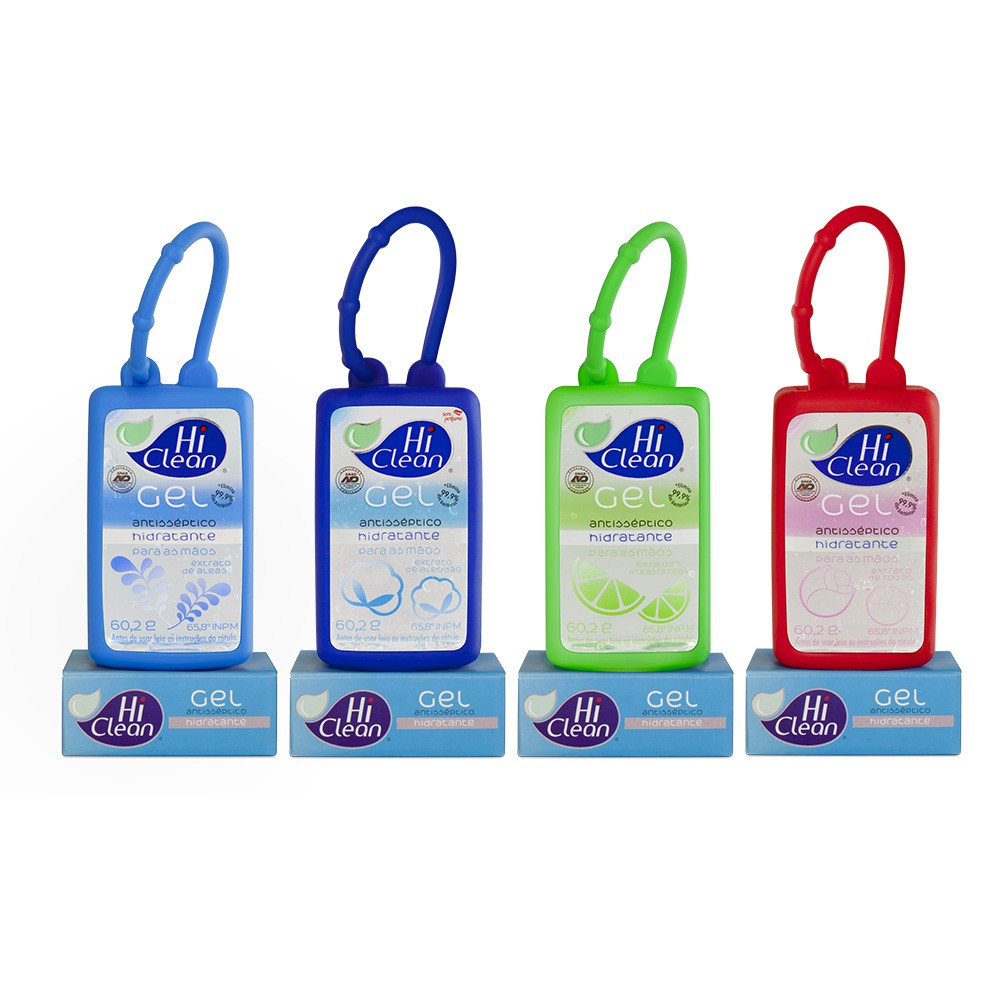Kit Gel Antisséptico Hi Clean Holder Cartucho 4 fragrâncias 70ml