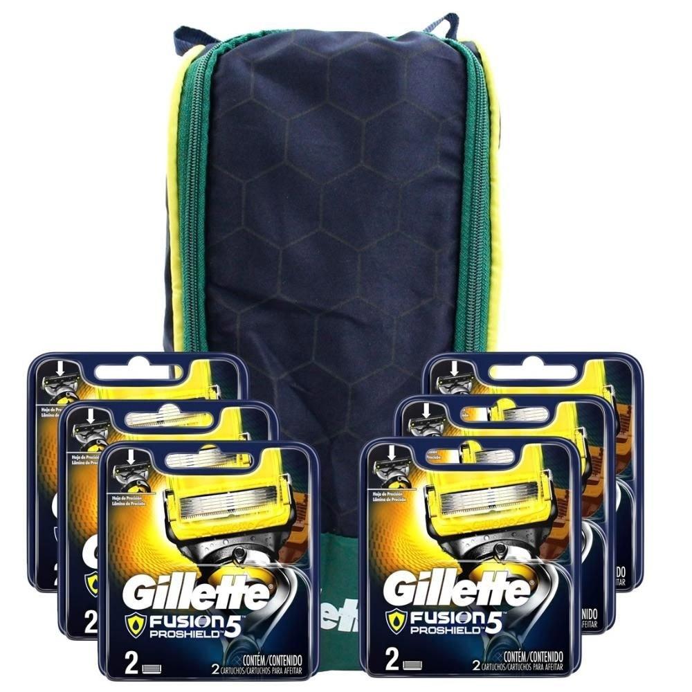 Kit Gillette: 12 Cargas Fusion Proshield + 1 Porta chuteira