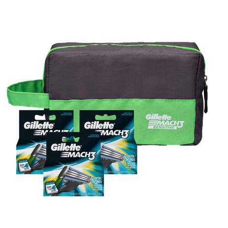 Kit Gillette 12 Cargas Mach 3 Regular + Brinde Necessaire Gillette