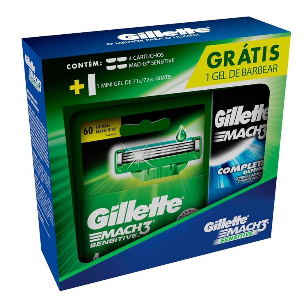 Kit Gillette Aparelho de Barbear Mach3 Sensitive  + 2 Cargas + Minigel 71g