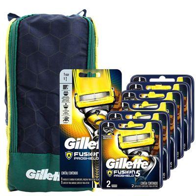 Kit  Gillette Fusion Proshield Aparelho + 12 Cargas + Porta Chuteira
