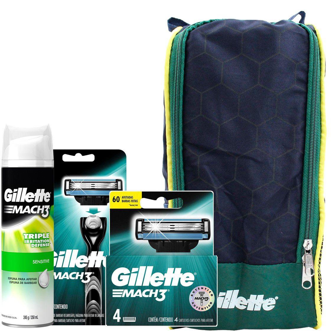 Kit Gillette Mach3: 1 Aparelho + 4 Cargas + 1 Espuma Sensitive 245g + Porta Chuteira