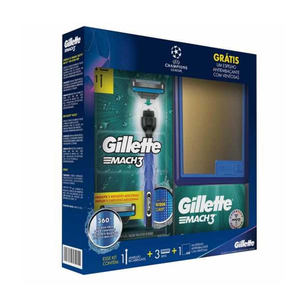 Kit Gillette Mach3 Aparelho de Barbear Acqua Grip UEFA Champions League + 3 Cargas + Grátis Espelho Antiembaçante