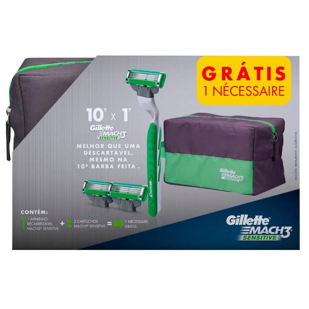 Kit Gillette Mach3 Sensitive com 1 Aparelho + 10 Cargas + Necessaire