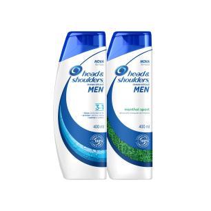 Kit Head & Shoulders - Shampoo Anticaspa Menthol Sport Masculino - 400mL + Anticaspa 3 em 1 Masculino 400ml