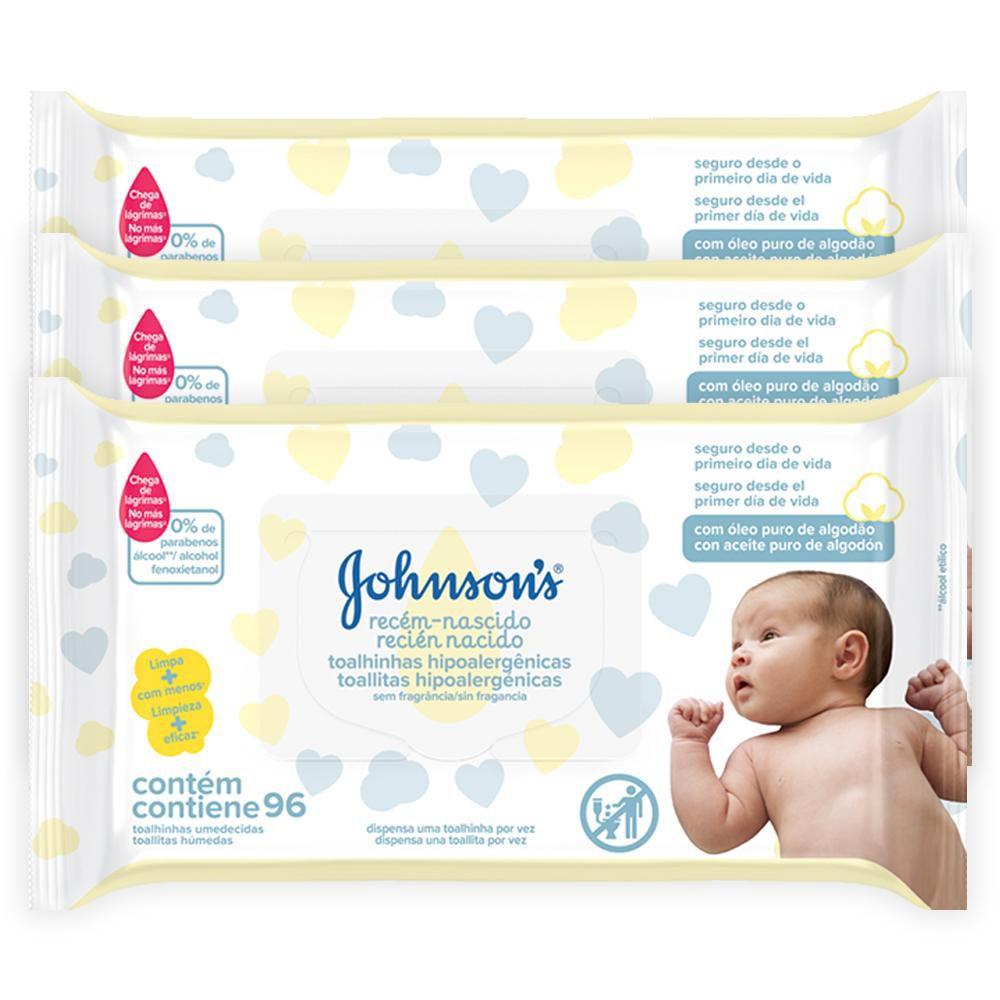 Kit Johnson's Baby Toalhinhas Recém-Nascido 288 unidades