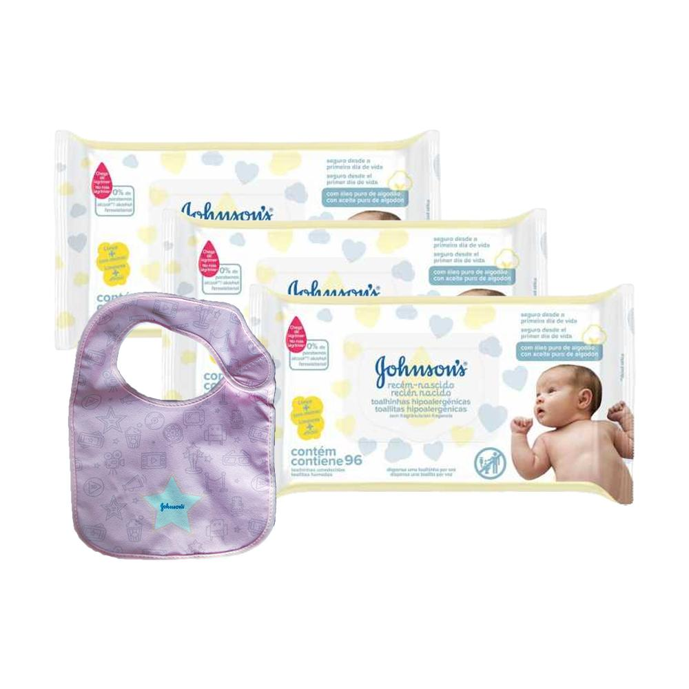 Kit Johnson's Baby Toalhinhas Recém-Nascido 288 unidades + Babador Johnson Azul