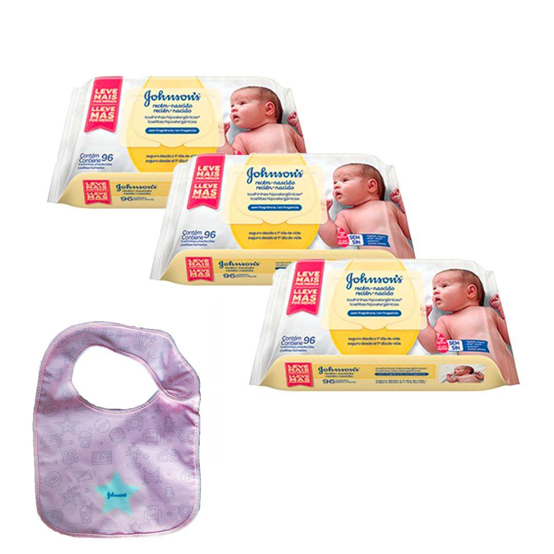 Kit Johnson's Baby Toalhinhas Recém-Nascido 288 unidades + Babador Johnson Rosa